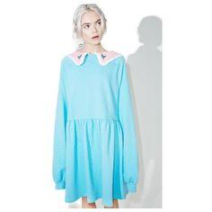 Kawaii Kitten Overall Dress (815 MXN) ❤ liked on Polyvore featuring dresses, strappy dress, strap dress, blue dress, blue circle skirt and blue skater skirt