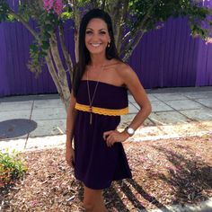 THE JUNGLE FLARE DRESS from UniversityBoutique.com $48.95 Catalog Connection Greenville, NC #GameDay #PurpleandGold #Ruffle