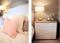 jillgg's good life (for less) | a west michigan style blog: home tour: my master bedroom with Havenly! (stylish ikea dresser, home goods lamp, layering throw pillows on the bed, upholstered headboard)