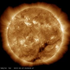 This is the biggest solar flare in years, not the overhyped picture the news is putting out.  No big white diamond, just a big beautiful sun picture with a flare.