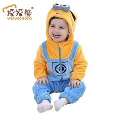 3290457bd Baby Girl Clothes Animal Baby Rompers Costume Newborn Clothes pajamas  Winter Fleece Clothes Boys Warm Snowsuit Jumpsuit
