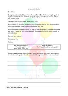 Writing an invitation