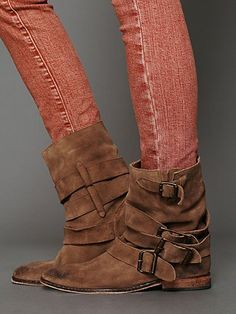 """Sunbelt Ankle Boot   Hand distressed, oil-stained suede slouchy ankle boots with wrap around buckle straps. Hardware is antiqued. Leather outsole is given a hammered treatment that adds to the overall vintage look and feel. The most perfect worn in boot. A Free People twist on color and distressing. **Fits true to size. If you are in between sizes, then it is recommended that you size up. For example, 37 1/2 = 38. *By Free People *Suede *Import *7 3/4"""" shaft height, 3/4"""" heel height"""