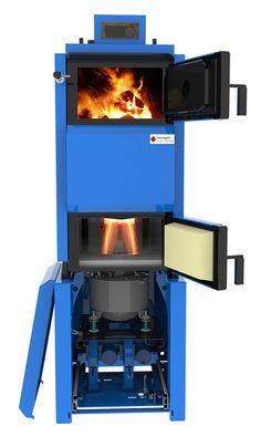 Wood log boiler and free piston Stirling Engine
