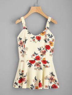 To find out about the Random Florals Peplum Top at SHEIN, part of our latest Tank Tops & Camis ready to shop online today! Cute Spring Outfits, Cute Outfits, Work Outfits, Floral Tank Top, Floral Tops, Dress Outfits, Fashion Outfits, Women's Fashion, Dresses