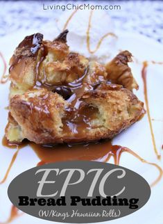 Epic Kings Hawaiian Roll Bread Pudding Recipe - Living Chic Mom Informations About Epic Kings Hawaii Hawaiian Desserts, Köstliche Desserts, Delicious Desserts, Dessert Recipes, Yummy Food, Hawaiian Recipes, Tasty, Hawaiian Bread Pudding Recipe, Pudding Recipes