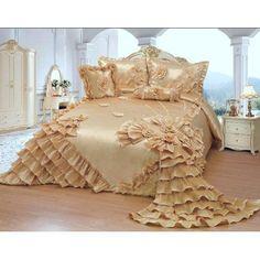Gold Comforter Set, Gold Bedding, Ruffle Bedding, Blue Bedding, Console, Wedding Bed, Quilt Sets Queen, Bedspreads Comforters, Pillow Top Mattress
