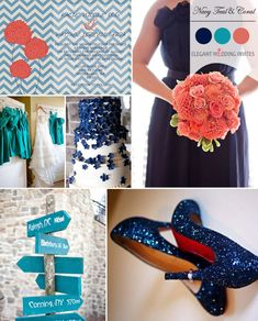 I love this! Navy blue and teal, with a hint of coral! Just not into the signs, kind of summer. Trending Navy Blue Wedding Color Ideas for Fall 2014