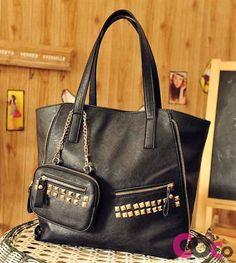 Eco leather retro punk style bag