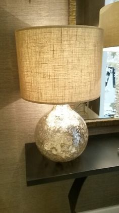 glass base table lamp with shimmer