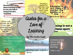 Quotes for a Love of Learning product from TheTeacherCouple on TeachersNotebook.com