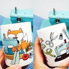 Keramik Tasse - Set Nähverrückt! von cherrypickingDIY via dawanda.com