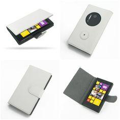 PDair Ultra Thin Leather Case for Nokia Lumia 1020 - Book Type (White)