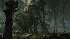 Tree houses in the spooky forest HD wallpaper Fantasy landscape Fantasy town Fantasy pictures