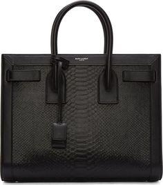Saint Laurent - Black Python Leather Sac Du Jour Tote Bag