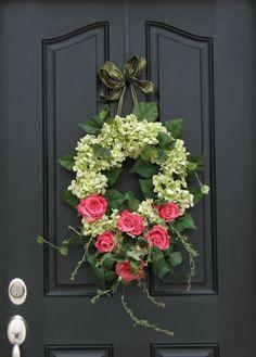 Spring Wreath with hydrangeas