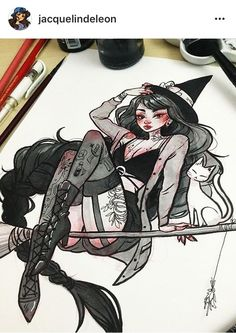 Imagen de witch, art, and draw Kunst Inspo, Art Inspo, Art Sketches, Art Drawings, Character Art, Character Design, Witch Drawing, Desenho Tattoo, Witch Art