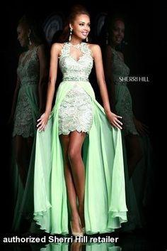 high low green prom dress by Sherri Hill - 9713