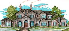 Find your dream french-country style house plan such as Plan which is a 6731 sq ft, 6 bed, 5 bath home with 3 garage stalls from Monster House Plans. Floor Plans 2 Story, House Floor Plans, Mansion Floor Plans, European House, French Country House, European Style, Castle Floor Plan, Home Lottery, Big Living Rooms