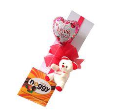 Arreglo Floral Candy - $112.000 [Caja de 12 rosas rojas, Osito, Chocolates y Globo]