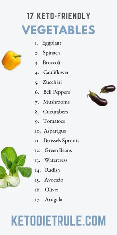Keto Vegetables: 17 Low-Carb Vegetables for the Ketogenic Di.- Keto Vegetables: 17 Low-Carb Vegetables for the Ketogenic Diet 17 low-carb vegetables you can eat on a ketogenic diet. Keto Foods, Keto Diet Foods, Ketogenic Foods, Ketosis Diet, Hcg Diet, Atkins Diet, Diet Food List, Food Lists, Brownies Keto