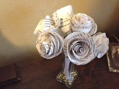 DIY: Paper Rose Bouquet with Recycled Mardi Gras Bead vase filler.