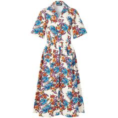 House Of Holland Bark Cloth Dress (€170) ❤ liked on Polyvore featuring dresses, multicoloured, floral print cotton dress, colorful dresses, floral pleated dress, flower print dress and short-sleeve dresses