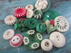 Vintage Buttons  Cottage chic mix of green red by pillowtalkswf, $8.95