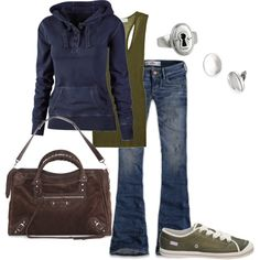 Cool weather outfit for doing errands, hanging out with friends, that kind of thing...I love the combination of the comfy (like the sneakers and hoodie) and the sophisticated (the silver jewelry and the handbag).