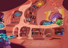 library deviantart twilight sparkle bedroom mlp golden pony oak floors upper ponyville cartoon bedrooms floor background treehouse libraries doll paper