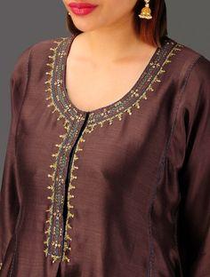 Brown Hand Embroidered Chanderi Kalidar Kurta with Lining Set of 2 Embroidery On Kurtis, Hand Embroidery Dress, Kurti Embroidery Design, Simple Embroidery, Kurta Designs Women, Blouse Designs, Dress Designs, Khadi Kurta, Patiala