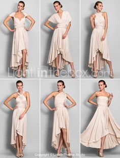Sheath/Column Asymmetrical Jersey Convertible Dress (633752) - USD $ 97.49
