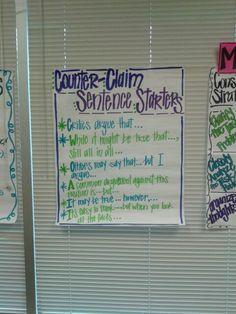 Sentence starters for counter -claims argumentative writing, persuasive wri Argumentative Writing, Sentence Writing, Opinion Writing, Persuasive Writing, Essay Writing, Writing Tips, 5th Grade Writing, 8th Grade Ela, Third Grade