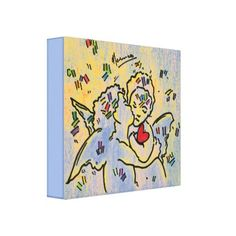 """peter max art style""Angels confetti heart canvas - heart gifts love hearts special diy"