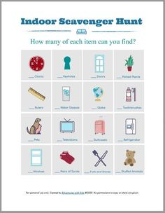 FREE printable Indoor Scavenger Hunt - super FUN way to keep kids busy at home + easy math activity for preschool, kindergarten & early elementary ages too! activities for one year olds Indoor Scavenger Hunt for Kids (w/FREE printable! Indoor Activities For Kids, Learning Activities, Toddler Activities, Preschool Activities, Preschool Kindergarten, Educational Activities, Fun Worksheets For Kids, Preschool Scavenger Hunt, Scavenger Hunts