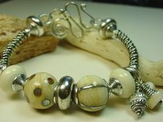 Designer Jewelry Handcrafted Earthy Sterling Silver &  Lampwork Glass Bangle Handmade Bracelet Picture
