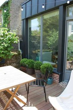Potted Buxus or pines Outdoor Rooms, Outdoor Gardens, Outdoor Living, Outdoor Furniture Sets, Outdoor Decor, Terrace Garden, Garden Pool, Small Terrace, Pergola