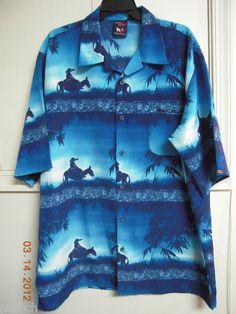 Southpole Casual Shirt Authentic Denim Collection Hawaiian Aloha Shirt Size XL
