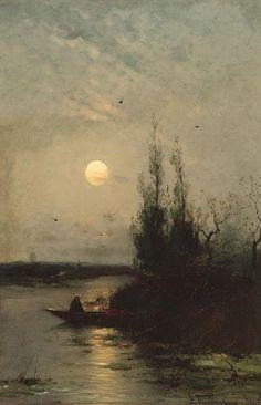 Riverside with angler and moon rising - Heinz Flockenhaus (1856-1919)