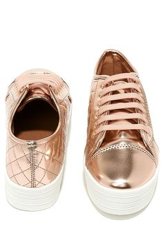 5dfb237a3f8 Leeloo Rose Gold Quilted Flatform Sneakers. Flatform SneakersVegan LeatherRose  Gold ColourShoe ...