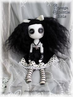 Gothic Lolita cloth art doll Krysta Wild by Strange Little Girls  #buttoneyes #clothartdolls #gothiclolita