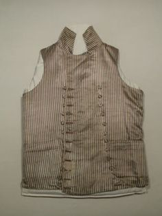Vertical striped silk waistcoat. Double-breasted. Upright collar. Snowshill collection 1790