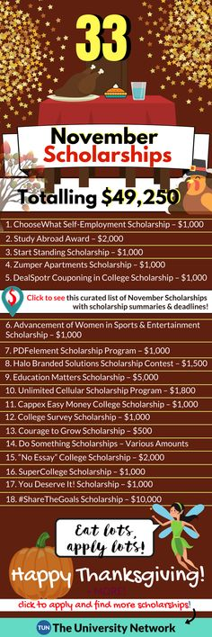 Scholarships Due This Month Gobble gobble, here are 33 to apply to before & after Thanksgiving break! – College Scholarships Tips Nursing School Scholarships, Nursing Schools, College Grants, College Dorms, College Survival, College Tips, Best Essay Writing Service, College Life Hacks, College Planning