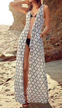 Long, open, sleeveless coverups are great for girls of all sizes