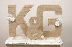 Burlap wrapped letters #wedding #DIY Wedding Crafts, Diy Wedding, Rustic Wedding, Dream Wedding, Wedding Ideas, Handmade Wedding, Wedding Colors, Burlap Letter, Burlap Monogram