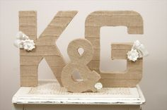 burlap wrapped letters (by duryea place via emmaline bride)