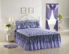 Purple Wisteria Pattern Floral Quilted Bedspread