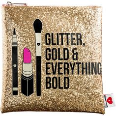 SEPHORA COLLECTION Glitter, Gold, Everything Bold Clutch ($23) ❤ liked on Polyvore featuring bags, handbags, clutches, accessories, beauty, makeup, gold handbags, gold glitter handbag, glitter handbag and gold purse