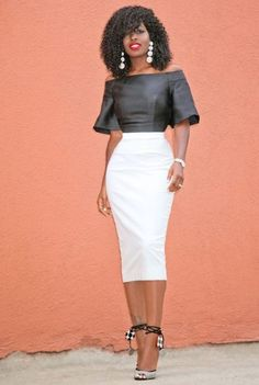 Short Flare Sleeves Blouse + Pencil Midi Skirt We would so love to wear these! Classy Outfits, Stylish Outfits, Pencil Skirt Outfits, White Fashion, Mannequins, Dress Skirt, Midi Skirt, Waist Skirt, High Waisted Skirt