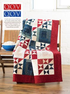 """""""My Country"""" ~ patriotic Quilts of Valor design by Cheryl Miller in RW&B, 71"""" x 89"""" finished size, $7 digital pattern   from Fons and Porter"""
